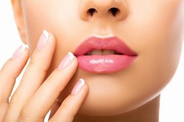 Close up beauty lips. Closeup. Natural Makeup.  perfect skin. - Image    Wall mural
