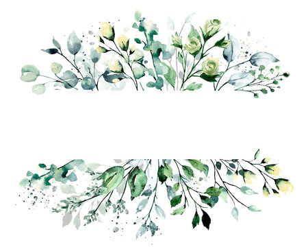 Leaves frame border. Watercolor hand painting floral geometric background. Leaf, flowers, plant, branch isolated on white background.