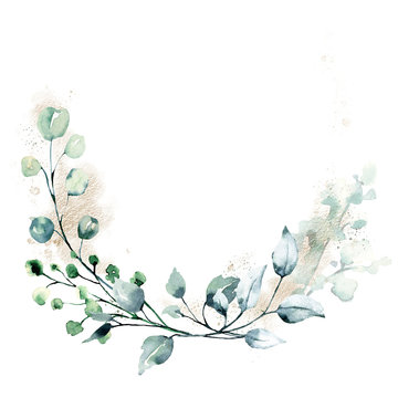 Leaves frame border. Watercolor hand painting floral geometric background. Leaf, plant, branch isolated on white background.