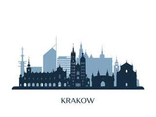 Krakow skyline, monochrome silhouette. Vector illustration.