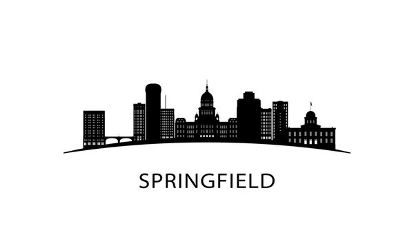 Springfield city skyline. Black cityscape isolated on white background. Vector banner.