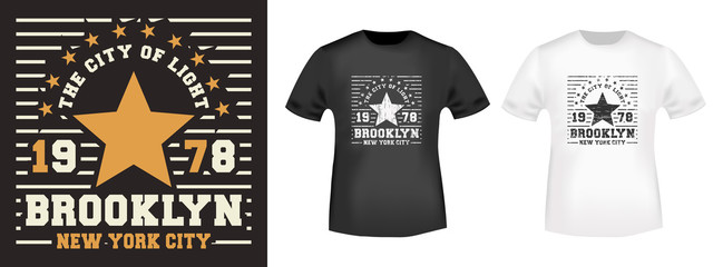 Brooklyn Star t-shirt print for t shirts applique, fashions slogan, tee badge, label, tag clothing, jeans, and casual wear