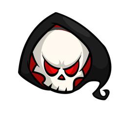 Cute cartoon grim reaper. Halloween vector illustration