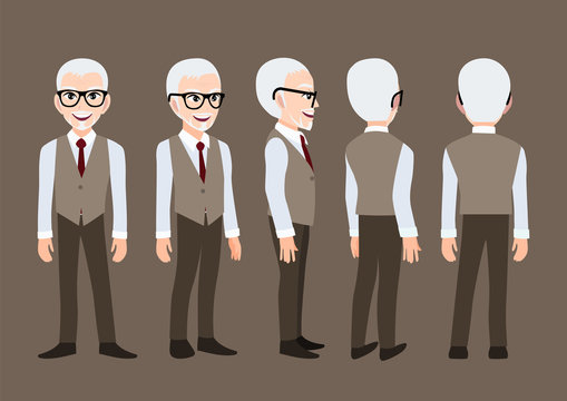 Cartoon character with business man. Front, side, back, 3-4 view animated character. Flat vector illustration.