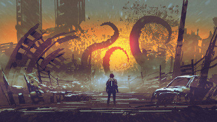 Zelfklevend Fotobehang Grandfailure man looking at a tentacle monster that destroys the city, digital art style, illustration painting