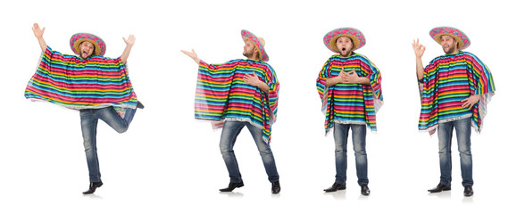 Funny mexican isolated on white Wall mural