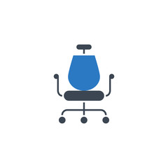 Office Chair related vector glyph icon. Isolated on white background. Vector illustration.