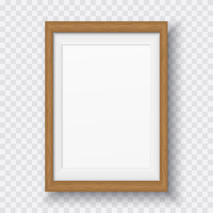 Brown wooden rectangle frame with soft shadow for text or picture is on squared white background