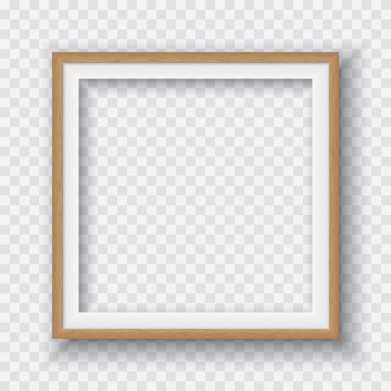 Brown square wooden frame with soft shadow for text or picture is on squared white background