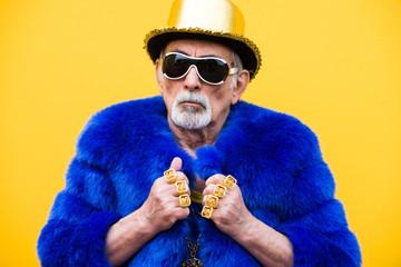 Eccentric senior man portrait