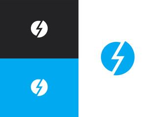 Blue round shape icon of stylization lightning Wall mural