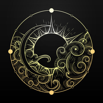 Hand Drawn Golden Sun and Moon with Cloud Esoteric Symbol. Vector illustration