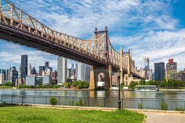 A view of Queensboro bridge and the Manhattan Skyline, from Queensbridge Park, Long Island