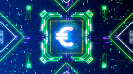 Euro currency symbol animation on digital background. Finance and business.