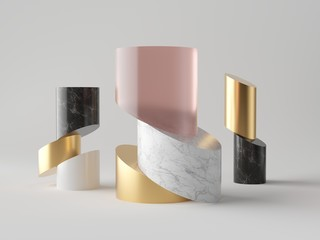 3d abstract minimalist fashion background, cut cylinder blocks, isolated objects, rose pink glass, gold, white and black marble stone texture, fashion elements, simple clean design, classy decor Wall mural