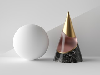 3d abstract primitive shapes on white background, black marble, rose glass and gold cone, white ball, clean minimalist design, sophisticated decor elements, modern geometric objects
