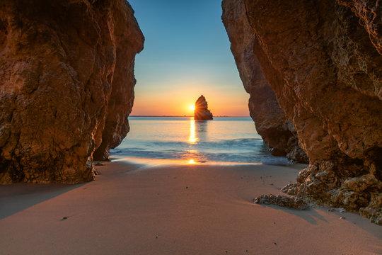 Beautiful dream Beach at sunrise near Lagos, Algarve, Portugal