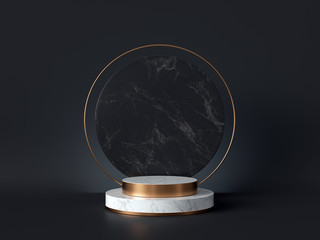 3d rendering of white marble pedestal isolated on black background, round gold frame, memorial board, cylinder steps, abstract minimal concept, blank space, clean design, luxury minimalist mockup Wall mural