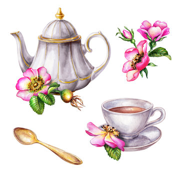 watercolor illustration, teapot and cup decorated with pink dog rose flowers, rosehip arrangement clip art, isolated on white background