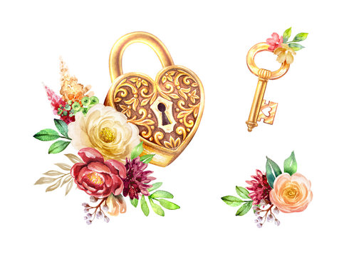 watercolor illustration, heart shaped gold lock and key decorated with flowers, romantic botanical decor, clip art elements isolated on white background