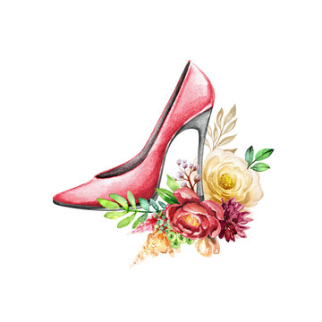 watercolor fashion illustration, red high-heeled shoe with botanical decor, bohemian style arrangement, bouquet of red and white roses and peonies, boho floral design, isolated on white background
