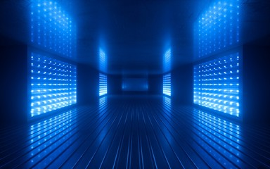 Fototapeta 3d render, blue neon abstract background, ultraviolet light, night club empty room interior, tunnel or corridor, glowing panels, fashion podium, performance stage decorations,