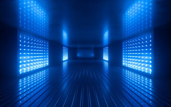 3d render, blue neon abstract background, ultraviolet light, night club empty room interior, tunnel or corridor, glowing panels, fashion podium, performance stage decorations,
