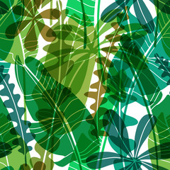 Obraz Vector seamless pattern with green drawn tropical leaves various shape.Flat botanical wallpaper, modern floral repeatable backdrop with transparency. - fototapety do salonu