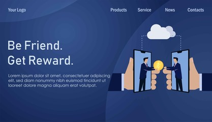 Businessman give referral reward online from phone. Business Landing Page Template.