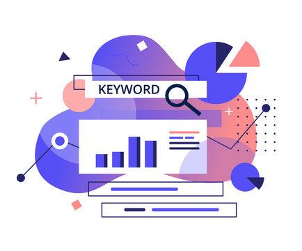 Monitoring, Analysis and verification of site positions in search engines concept. Keyword Research program-flat banner. SEO Marketing tools vector illustration.
