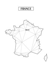 Polygonal abstract map of France with connected triangular shapes formed from lines. Capital of city - Peris. Good poster for wall in your home. Decoration for room walls.
