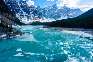 Last crack of ice over Morraine Lake in Banff national park, Canda