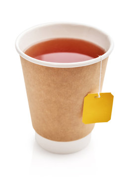 Disposable takeaway cups with tea