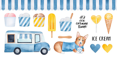 Big pack of various yummy ice cream products, funny corgi puppy character, restaurant car, striped seamless awning pattern, wooden stick, hearts, text phrases. Hand drawn watercolour graphic drawing.