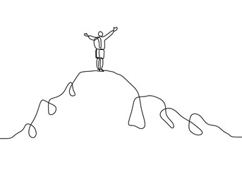 Continuous line drawing of person rising hands after climbing a peak of mountain. Concept of happy success achieving goals theme.
