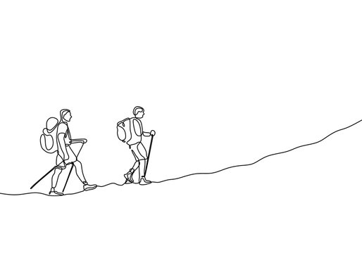 Continuous line drawing of group two people hiking and climbing adventure travelers