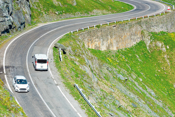 transfagarasan mountain road. wonderful travel destination of romania. lovely transportation background, view from above
