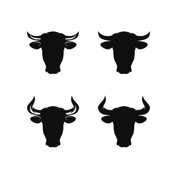 Set of cow / bul head silhouette logo design