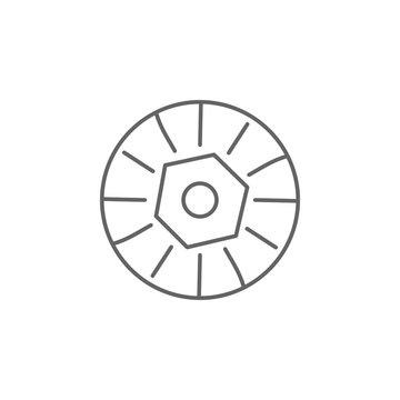 Prehistoric stone wheel icon. Element of prehistoric line icon