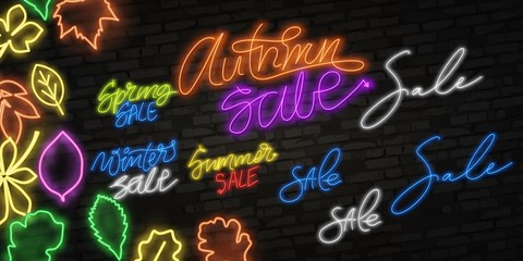 Autumn Sale neon sign, bright signboard, light banner. Autumn Discounts logo, emblem. Offer, shopping and sale advertising design. Night bright neon sign, colorful billboard, light banner. Vector