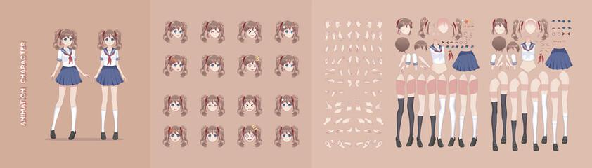 Anime manga girl character animation motion design