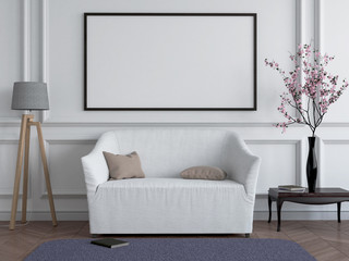 Mock up poster frame in Scandinavian style interior. Minimalist interior design. 3D illustration. 3D rendering.