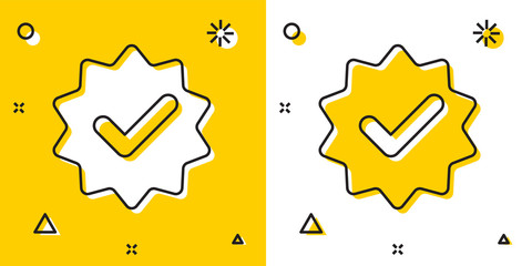 Black Approved or certified medal with ribbons and check mark icon isolated on yellow and white background. Random dynamic shapes. Vector Illustration