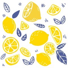 The seamless pattern of lemon and leaf. the part of lemon and leaf. the pattern backgroung of yellow lemon on white background. cute lemon in flat vector style.
