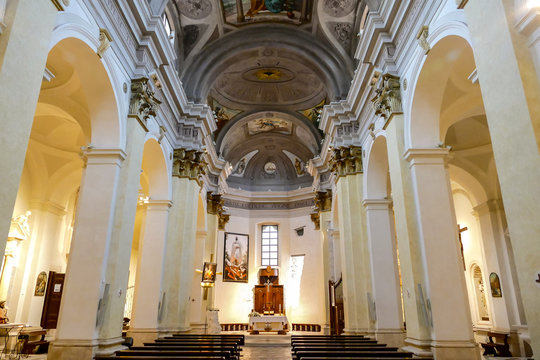 View of a church interior in medieval town Province of L'Aquila Abruzzo Italy