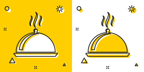 Black Covered with a tray of food icon isolated on yellow and white background. Tray and lid sign. Restaurant cloche with lid. kitchenware symbol. Random dynamic shapes. Vector Illustration