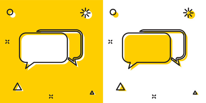 Black Chat icon isolated on yellow and white background. Speech bubbles symbol. Random dynamic shapes. Vector Illustration