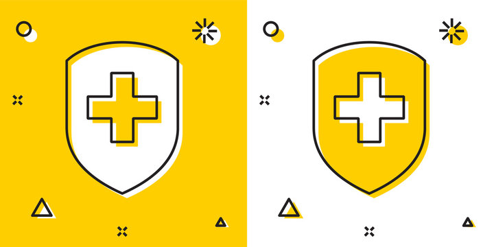 Black Medical shield with cross icon isolated on yellow and white background. Protection, safety, password security. Random dynamic shapes. Vector Illustration