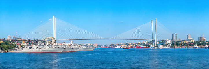 Panoramic view of Zolotoy Rog Bay and Zolotoy Bridge of the Far Eastern capital of Russia Vladivostok, located in Primorsky Krai