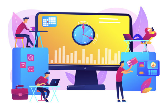 Work performance on schedule. Staff discipline. Time and attendance tracking system, office time tracking, employee time management concept. Bright vibrant violet vector isolated illustration